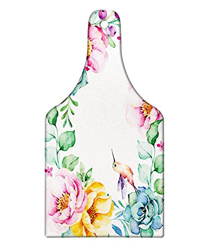 Lunarable Succulent Cutting Board, Nature Themed Framework with Floral Flourish Border and Cute Little Hummingbird, Decorative Tempered Glass Cutting and Serving Board, Wine Bottle Shape, Multicolor (Glass Wine Cutting Board)
