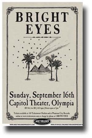 Bright Eyes Poster - 11 x 17 Promo for a Concert on the Cassadaga Tour- Conor Oberst Oly