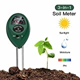 Soil pH Meter 3-in-1 Soil Test Kit For Moisture,Light & pH,Great For Garden,Farm, Lawn,Plants,Herbs & Gardening Tools,Indoor & Outdoor Plant Care Soil Tester(No Battery needed)