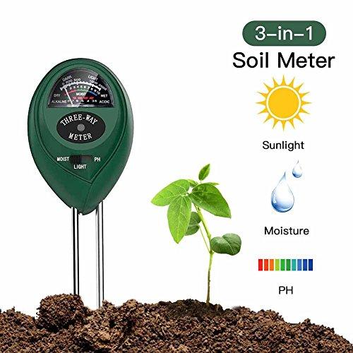 Soil pH Meter 3-in-1 Soil Test Kit For Moisture,Light & pH,Great For Garden,Farm, Lawn,Plants,Herbs & Gardening Tools,Indoor & Outdoor Plant Care Soil Tester(No Battery needed)