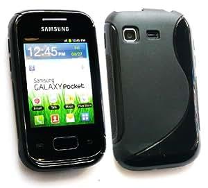 Emartbuy ® Value Pack Para Samsung S5300 Galaxy Pocket Protector De Pantalla + Oleado Gel De La Piel Cubierta Negro + Compatible Con Micro Usb Car Charger