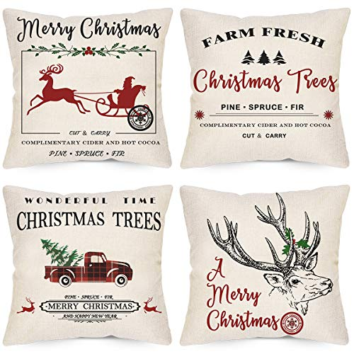 LAVEVE Christmas Decorative Pillow Covers 18x18 Inch Set of 4, Winter Christmas Deer Gharry Throw Pillow Covers, Linen Merry Christmas FarmhouseTree Car Cushion Case for Sofa and Couch (Set Pillows Sofa)