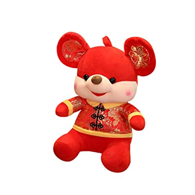 HongHong Toddler Toys 2020 Mouse Year Lucky Rat Plush Doll in Tang Suit Plush Stuffed Doll Stuffed Animal Plush Gift Sofa Decor Chinese Style# 32cm: Home & Kitchen