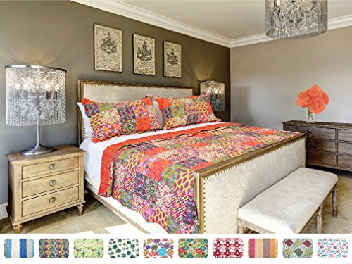 Price comparison product image The CONNECTICUT HOME COMPANY Luxury Quilt Collection, Reversible, 3-Piece Set, Top Choice by Decorators, Many Sizes and Patterns, All Season Weight, Machine Washable (Scarlett - Queen/Full)