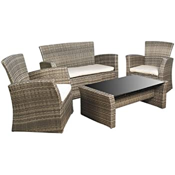 942301f4528 Mission Hills Redondo 4-Piece Seating Set Outdoor Garden Patio Cushioned  Seat Wicker Sofa Furniture