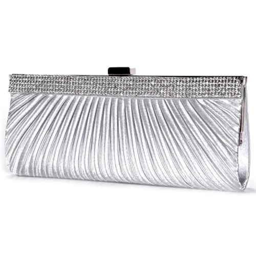 The Pecan Man Silver SATIN CRYSTAL DIAMANTE Pleated Designer Ladies Wedding Bridal Prom Clutch Evening Bag - Jackson Polo Outlets