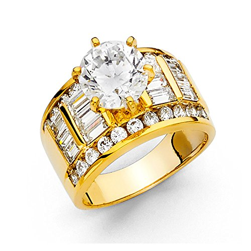 11.3mm 14K Engagement Ring in Yellow Gold with 3.5 ct Round Center and Round & Baguette Side Stone Size 9 (Pear Stone 3.5 Ct)