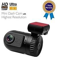 Adashine Dash Cam Dashboard Camera DVR Mini 0805 Worlds Smallest Ambarella A7LA50 Chip + FILM + OV4689 Sensor + 8gb Card Super HD 1296P(Upgraded 0803) Video Recorder, Car Camera with GPS Logger