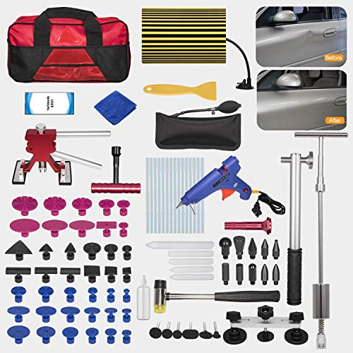 Danti 92pcs Auto Body Repair Tools with Bag, Car Dent Puller with Double Pole Bridge Dent Puller, Glue Puller Tabs, Glue Shovel for Auto Dent Removal, Minor dents, Door Dings and Hail Damage (Best Auto Body Repair)