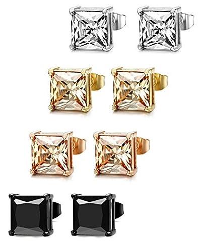 ORAZIO 4 Pairs Stainless Steel Women Stud Earrings Mens Ear Piercing Cubic Zirconia Earrings 6mm