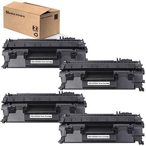 Sirensky 05A CE505A Toner Cartridge 4 Pack Black Replacement for use in HP Laserjet P2035 P2035N P2055DN Series Printers Band