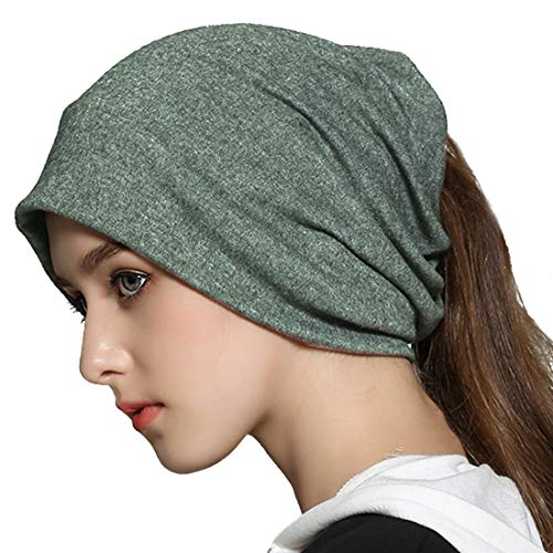 (Winter Slouchy Beanie Hat Infinity Scarf Soft Cotton Baggy Knit Skull Cap Ponytail Hats Sleep Chemo Caps for Women Green)