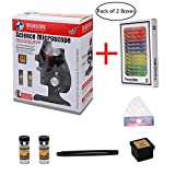 YEEMAX Microscope Science Kits for Beginners + Bonus Box of 12 PCS Plastic Prepared Microscope Slides - Microscope with LED 100X 400X 1200X Magnification