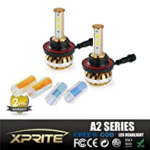 Xprite A2 Series CREE COB LED Headlight Conversion Kit for Cars and Trucks with 3000K Amber, 6000K White, 10000K Blue Sleeves - 120W 10400lm - H13 9008