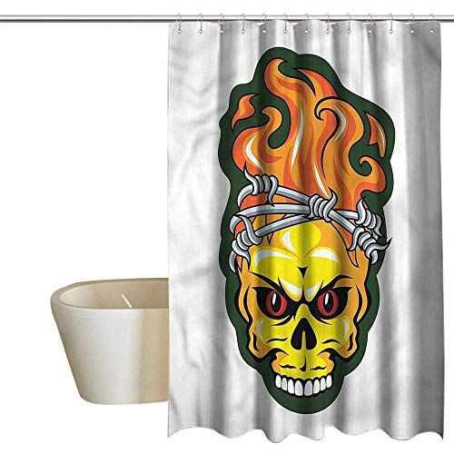 RenteriaDecor Shower Curtains African Animals Barbed Wire,Spooky Halloween Theme,W72 x L72,Shower Curtain for Small Shower stall -