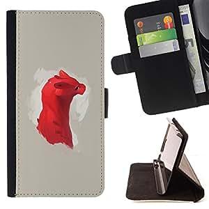 KingStore / Leather Etui en cuir / Samsung Galaxy Note 3 III / Dragón rojo lindo