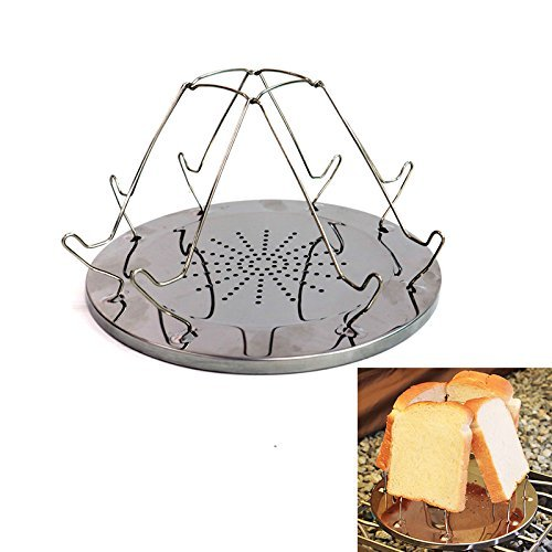 (IDS Stainless Steel Camping Toaster Rack Holder 4 Slice Toaster Tray for BBQ Party Outdoor Hiking Camping Fishing Picnic Cooking Breakfast)