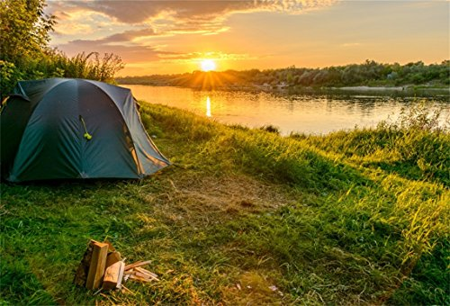 CSFOTO 7x5ft Background for Riverside Tent Outdoor Vacation Photography Backdrop Beautiful Sunrise Leisure Holiday Outdoor Overnight Sport Dating Nature Scene Photo Studio Props Polyester -