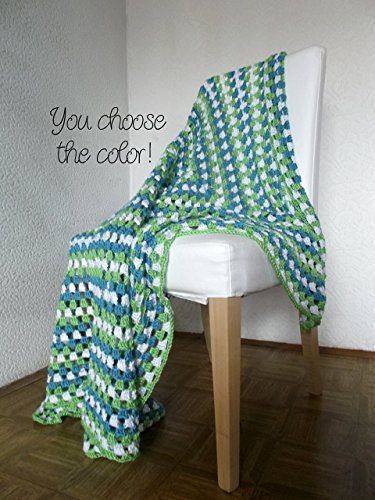 (Granny Square Throw Blanket Afghan Modern Crochet - Bright Green and Turquoise - Made To Order)