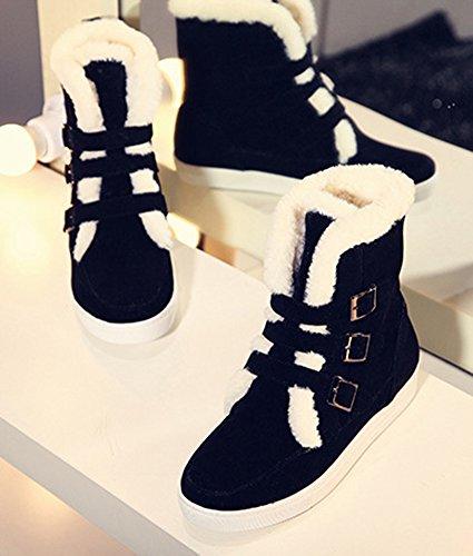 Confortable Bottes Neige Plat Talon Boucles Noir Femme De Chaussures Bottines Aisun OHwq64U