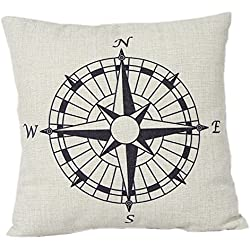 "Leaveland 1 X Compass Cotton Linen Pillow Cover- Nautical 18x18""cushion Cover-throw Pillow Cover"