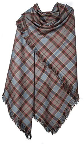 OUTLANDER Shawl Poly/Viscose Tartan (FRASER) by The Celtic Croft