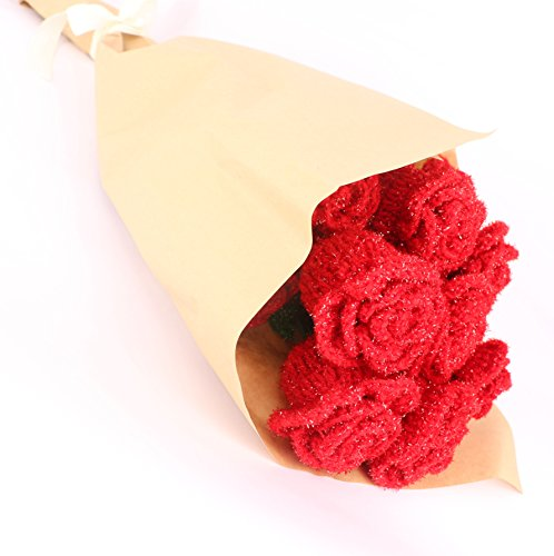 Knitted Felted Flowers (Large Crochet Rose Red Dozens - Knitted Flowers Crochet Flowers and Leaves - Crochet Gifts Birthday Valentines Anniversary Wedding Party Crafting Handmade Crochet Christmas No Vase)