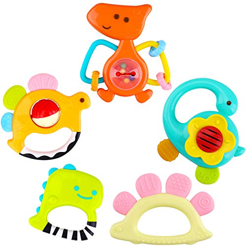 iPlay, iLearn 5 Dinosaur Baby Rattles, Teether, Shaker, Grab and Spin Rattle, Musical Toy Set, Early Educational Toys, Unique Gifts for 3, 6, 9, 12, 18 Month Olds Infant, Newborn, Toddler, Boys, Girls