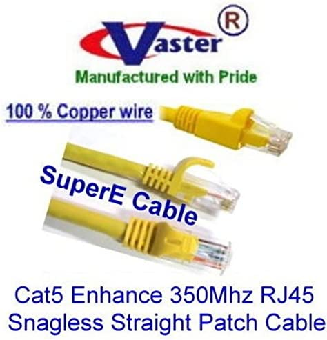 Vaster SKU 20679 Not CCA Wire 100/% Copper UL//ETL 24Awg Wire RJ45 Snagless Straight Patch Cable Cat5e 350Mhz Patch Cable Yellow 20 Ft // 20 Pack