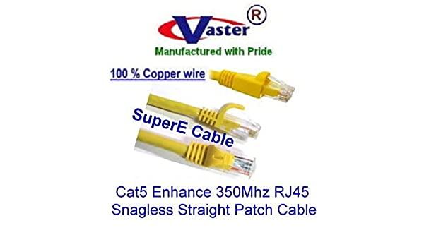 NOT CCA Wire 100/% Copper UL//ETL 24Awg Wire Cat5e 350Mhz Patch Cable 20674 2 Ft // 10 Pcs//Pack Orange RJ45 Snagless Straight Patch Cable Vaster SKU