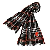 DH 70 X 25 Inches NFL Browns Crinkle Plaid Scarf, Football Themed Women Accessory Stylish Fringed Edges, Team Logo Fan Merchandise Athletic Team Spirit Fan, Brown Orange White Black, Polyester