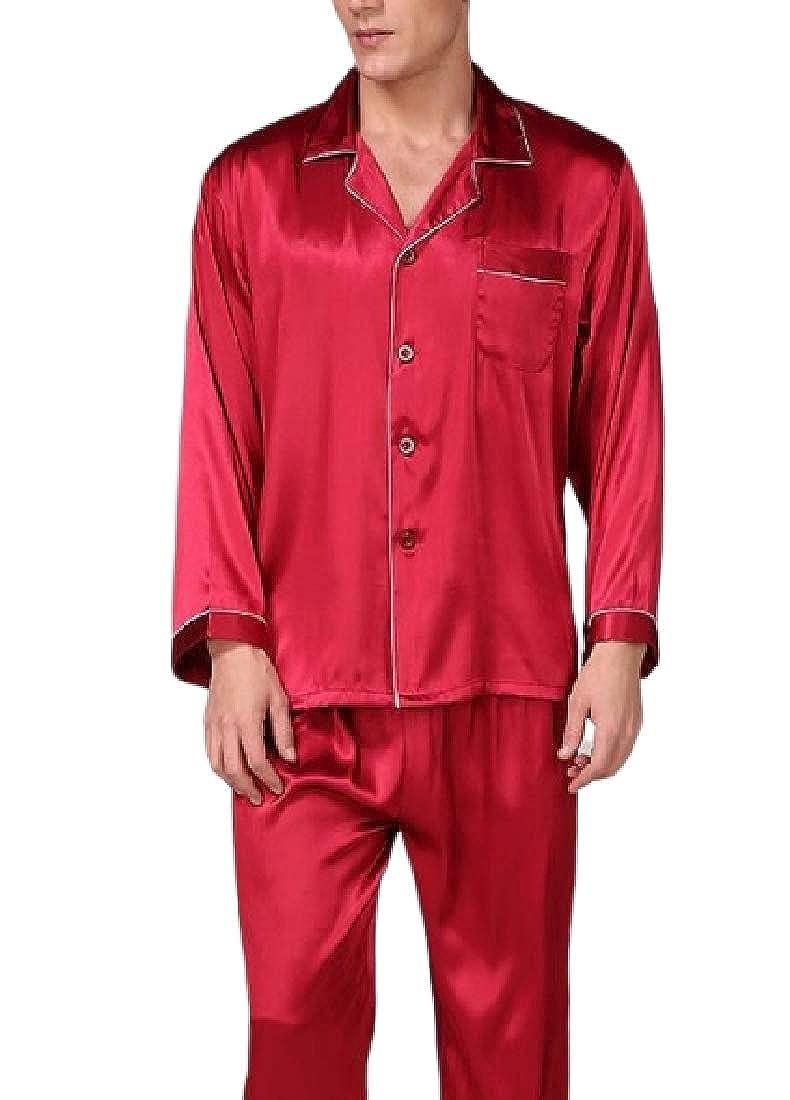 WAWAYA Mens Nightwear Sleepwear Buttons Long Sleeve Satin Pajama Sets