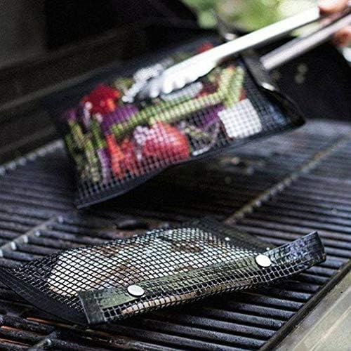 TH Sac de Maille antiadhésive Sac de Barbecue Sac de Grillage antiadhésif Sac de Barbecue résistant à la Chaleur Outil de Barbecue en Plein air de Cuisine (Noir 24 * 14cm)