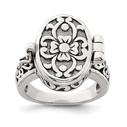 925 Sterling Silver Antique Locket Band Ring Size 6.00 Fine Jewelry For Women Gift Set ()