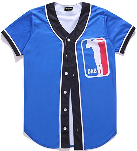 Pizoff Unisex Short Sleeve 3D Print Baseball Softball Team Jersey Shirt