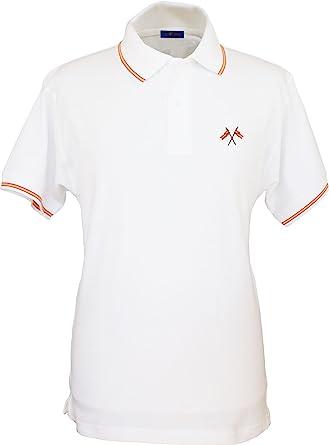 Pi2010 - Polo Hombre Blanco con Bordado Bandera de España en Pecho ...