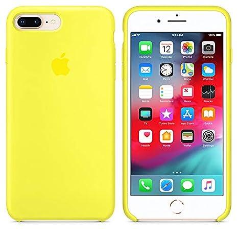 Desconocido Funda para iPhone 6 / 6s, Silicona Amarilla Amarillo Fosforito Logo Apple, Carcasa Silicona iPhone (iPhone 6 / 6s)