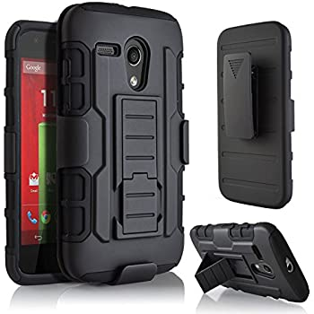STARSHOP Hybrid Full Protection Dual Layer Holster Case with Kickstand and Locking Belt Swivel Clip for Moto G - Black
