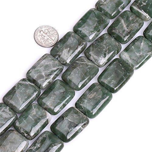 Joe Foreman African Jade Beads for Jewelry Making Natural Gemstone Semi Precious 18x25mm Rectangle Green 15