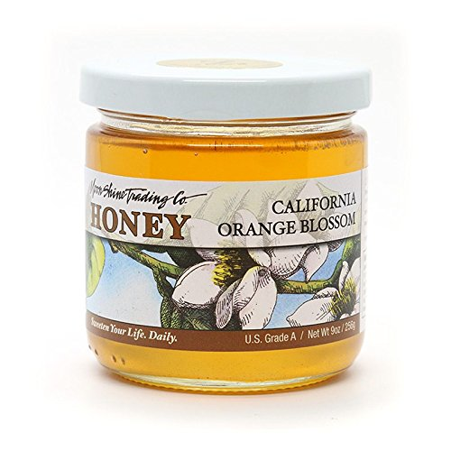 Honey 5 Oz Jar (Moon Shine Trading Gourmet California Orange Blossom Local Honey – Raw Unprocessed Unpasteurized Unfiltered 100% Pure & Natural Honey,)