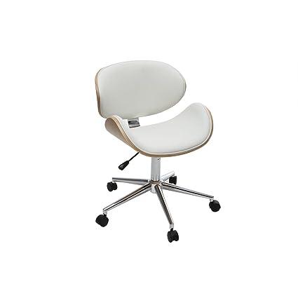 Miliboo - Silla de escritorio diseño PU blanca y madera clara WALNUT