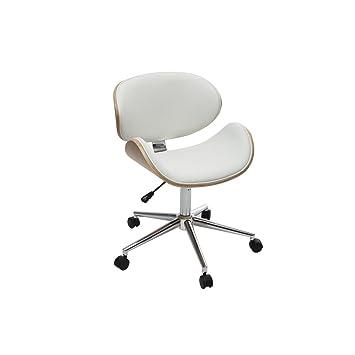 tout neuf b4c35 670bd Miliboo - Chaise de Bureau Design PU Blanc et Bois Clair ...