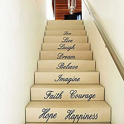 Hatop Hot!Love Live Hope Laugh Wall Quote Decal Removable Stair Wall Stickers Decor