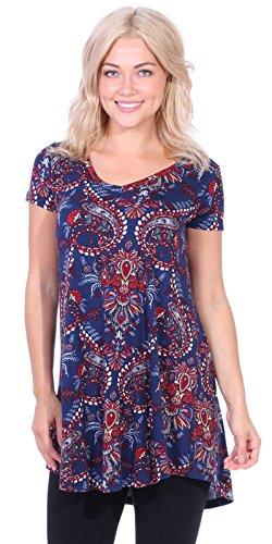 Dress Jersey Paisley Print (Popana Women's Tunic Tops for Leggings Short Sleeve Summer Shirt Made in USA Small ST55 Paisley)