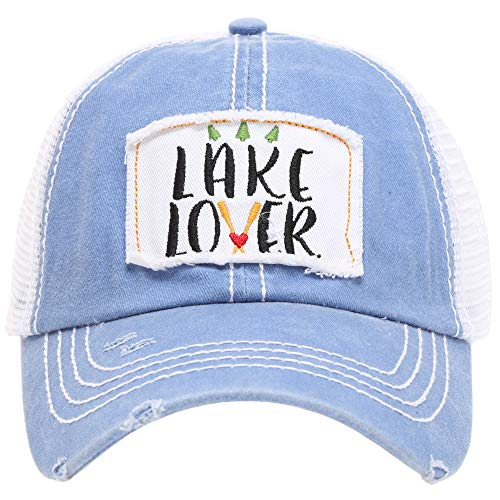 - MIRMARU Women's Baseball Caps Distressed Vintage Patch Washed Cotton Low Profile Embroidered Mesh Snapback Trucker Hat (Lake Lover, Blue)