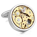 INBLUE Men's 2 PCS Rhodium Plated Cufflinks Silver Gold Tone Watch Movements ( Not Working )