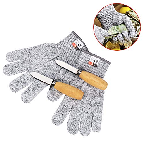 Oyster Shucking Knife & Level 5 Protection Cut Resistant Gloves (XL) Set by Orangehome