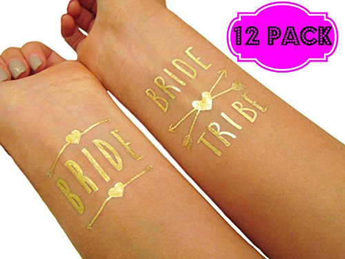 Funny Bone Products Bachelorette Bride and Bride Tribe Temporary Tattoos, Metallic Shiny Gold Flash, Bachelorette Party Supplies Ideas Accessories Favors