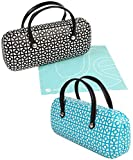 [2 PACK], JAVOedge (Black/Blue) Handbag Style Hard Eyeglasses Case and Bonus Free Soft Microfiber Lens Cleaning Cloth