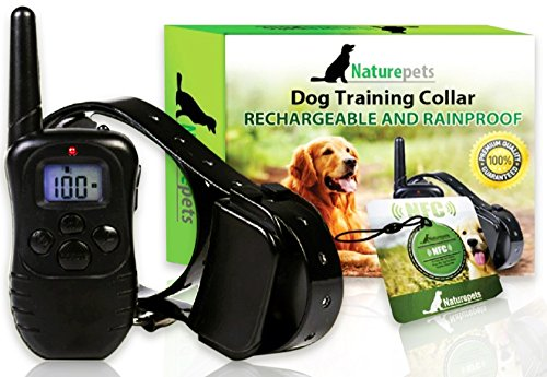 Naturepets Remote Dog Training Collar - Safe and Effective Rechargeable and Rainproof Bark Shock Collar with LCD...